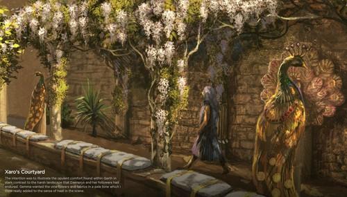 Xaro's courtyard concept art