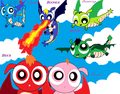 the ppg z rrb as dragons - powerpuff-and-rowdyruff-animals fan art