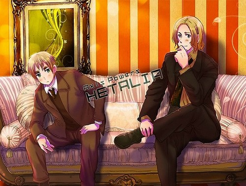 Yaoi wallpaper possibly with bare legs, a well dressed person, and a drawing room entitled ~France x England~