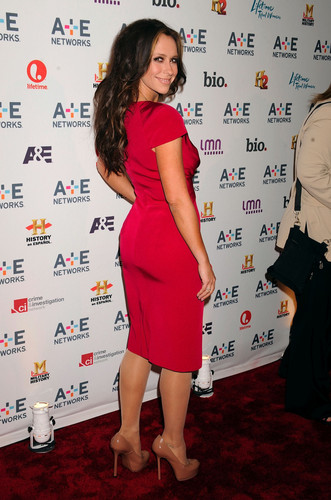 Jennifer Love Hewitt wallpaper possibly containing a well dressed person, a playsuit, and a sign entitled A&E Networks 2012 Upfront in New York [9 May 2012]
