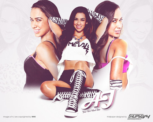 WWE wallpaper probably with hosiery, bare legs, and a stocking entitled AJ Lee