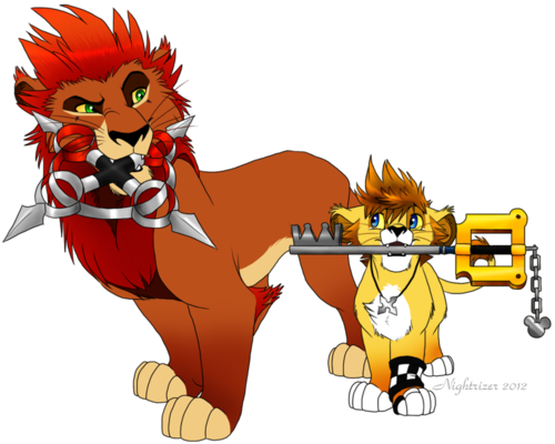 axel wallpaper containing anime entitled Axel And Roxas Lion