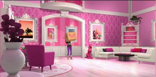 Barbie Movies wallpaper containing a drawing room, a living room, and a parlor called Barbie Life in a Dream House :Why should Barbie have everything pink and white in her house ?