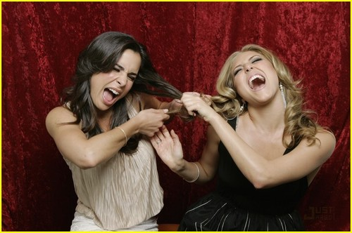 Make It or Break It wallpaper probably containing a bridesmaid and a portrait entitled Cassie Scerbo and Josie Loren