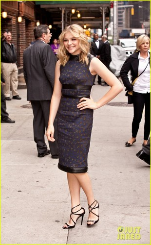 Chloe Moretz wallpaper containing a hip boot and a business suit entitled Chloe Moretz: 'Late Show with David Letterman' Appearance!