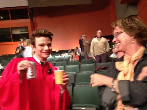 Chris on set of Glee May 3rd, 2012