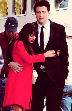 Cory on set of Glee filming Goodbye episode