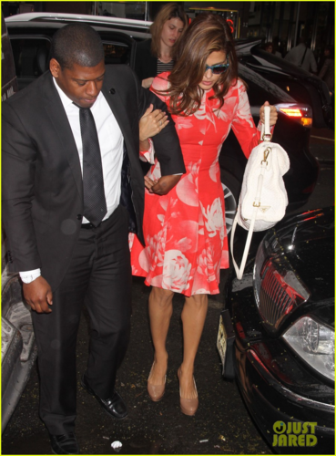 Eva Mendes wallpaper possibly containing a business suit and an automobile titled Eva - Leaving the Today Show studio, May 09, 2012