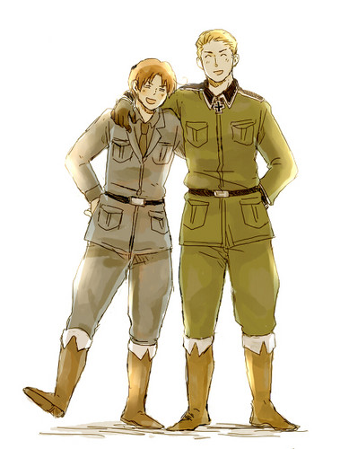 Hetalia wallpaper with a green beret entitled Germany and Italy
