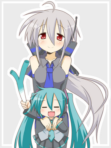 Haku and her lil sister Miku - vocaloids Photo