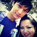 Harry on set with fan - harry-shum-jr photo
