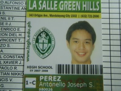His school ID in first taon of high school