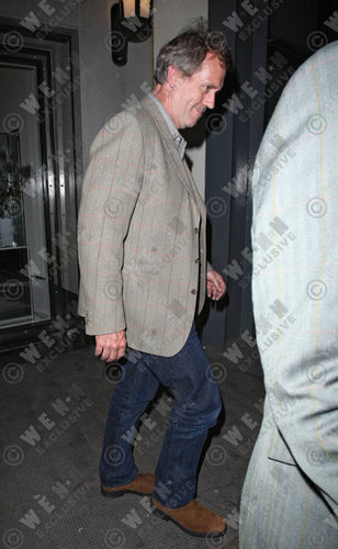 Hugh Laurie wallpaper probably containing a green beret, fatigues, and battle dress entitled Hugh Laurie leaving the Ivy club- London, England - 01.05.12