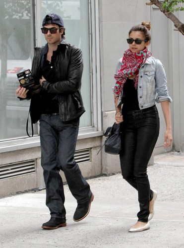 Ian Somerhalder wallpaper with a business suit called Ian & Nina leaving the Trump Soho Hotel in New York (May 8, 2012)
