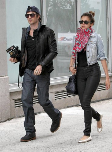 Ian Somerhalder wallpaper with a hip boot, a business suit, and a well dressed person titled Ian & Nina leaving the Trump Soho Hotel in New York (May 8, 2012)