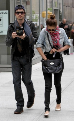 Ian &amp; Nina leaving the Trump Soho Hotel in New York (May 8, 2012) - ian-somerhalder-and-nina-dobrev Photo