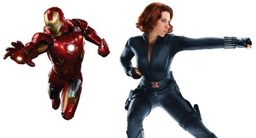 アベンジャーズ 壁紙 with a hip boot titled Iron Man - Black Widow