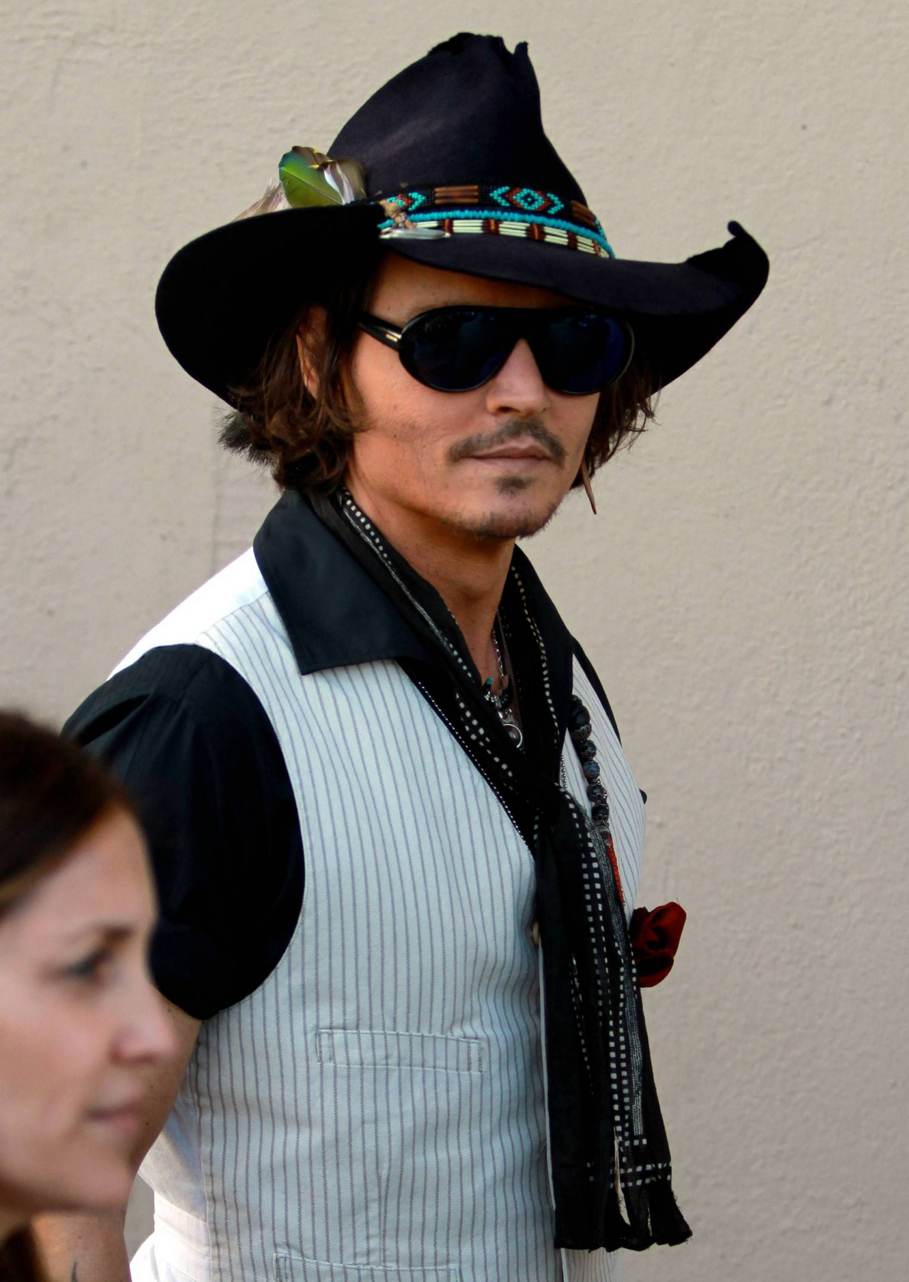 Johnny Depp on his way to Jimmy Kimmel Show 2012