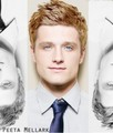 Josh Hutcherson with blonde hair, blue eyes
