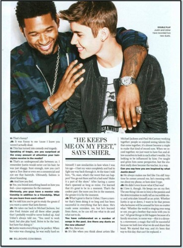 Justin Bieber and usher in Billboard Magazine