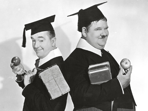 Laurel and Hardy wallpaper containing an academic gown called Laurel and Hardy