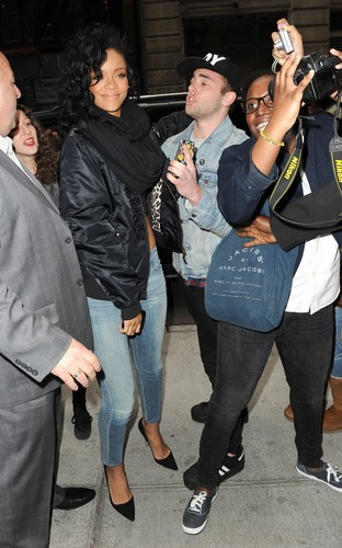 Rihanna wallpaper possibly containing a business suit called Midtown Hotel With Fans In NYC [3 May 2012]
