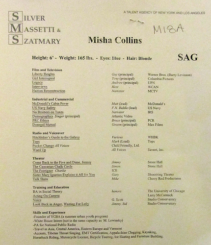 Misha Collins wallpaper entitled Misha Collins' Resume