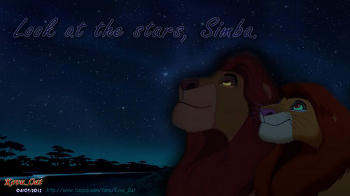 Mufasa and Simba Son and Dad Look the stars HD