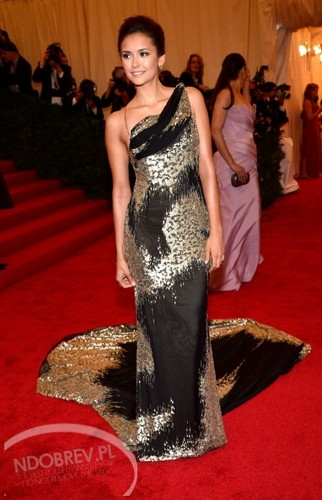 Nina Dobrev wallpaper possibly containing a dinner dress and a gown titled Nina Dobrev attends Costume Institute Gala at the Metropolitan Museum of Art on May 7, 2012