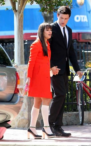 Glee wallpaper containing a business suit and a well dressed person called On set of Glee filming Goodbye episode