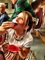 Vanessa eating bolo de copo on set of glee