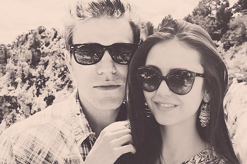 Paul Wesley and Nina Dobrev wallpaper probably containing sunglasses called Paul & Nina