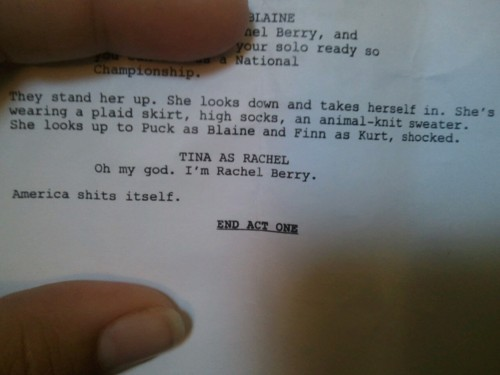 Piece of script from Props - glee Photo