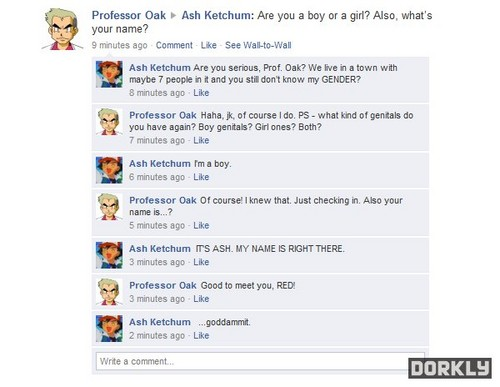 Pokemon characters facebook chats