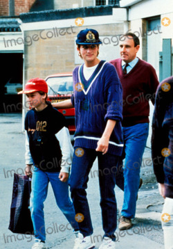 Princess Diana and her Sons 바탕화면 probably with a street, a workwear, and a green 베레모, 베 레모 titled Princess Diana and Prince William