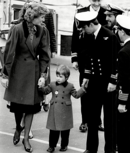 Princess Diana with Prince William and Prince Andrew