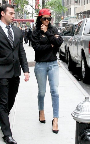Rihanna wallpaper with a business suit and a street called Rihanna  leaving NBC Studios