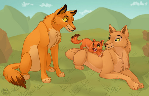 Simba, Nala, and kiara as wolves