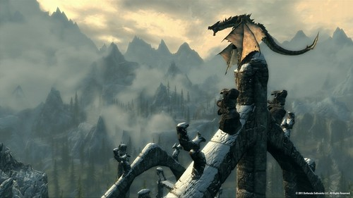Elder Scrolls V : Skyrim wallpaper probably containing a fountain and an alpinist entitled Skyrim