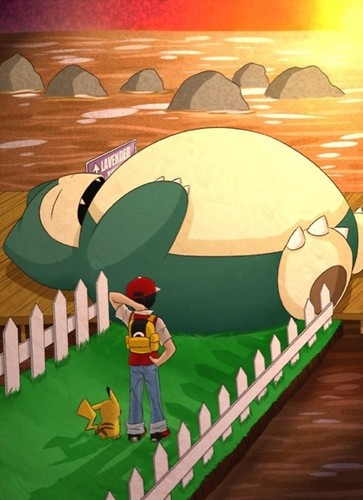 Pokémon wallpaper titled Snorlax blocking the way