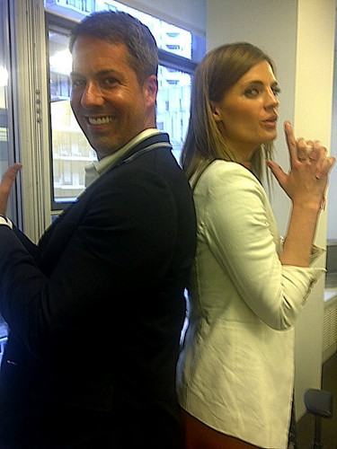 Stana with Men's Heath Fashion + Grooming Director Brian Boye