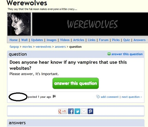 What's up with people thinking vampires are real? XD - fanpop-fail Photo