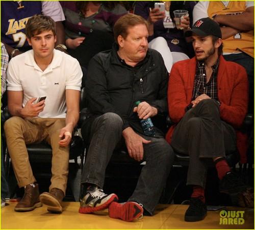 Zac Efron: Lakers Courtside with Ashton Kutcher