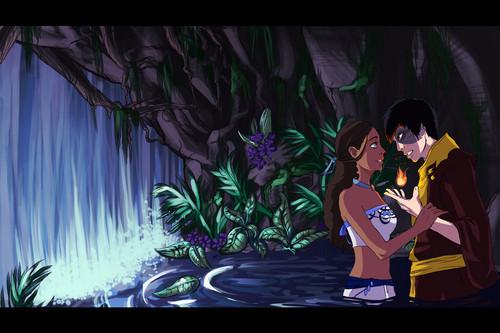 Zutara behind the waterfall