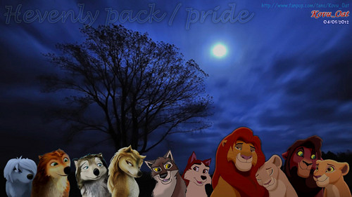 pack and pride serigala, wolf and Lion all gather together
