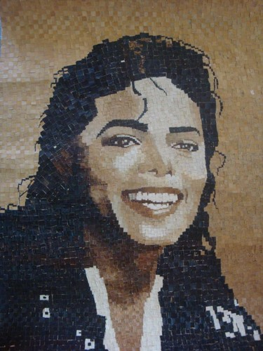 Michael Jackson wallpaper titled 1st Mosaic art piece of Michael Jackson out of banana fiber...