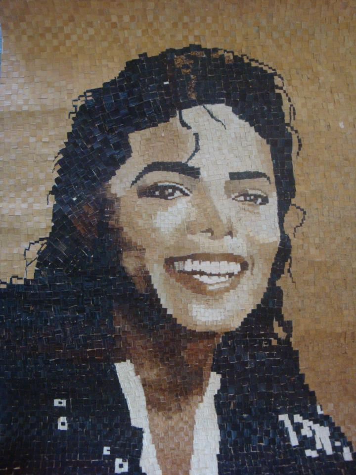1st Mosaic art piece of Michael Jackson out of banana fiber...