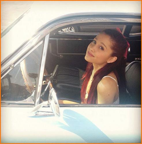 Ariana in a car