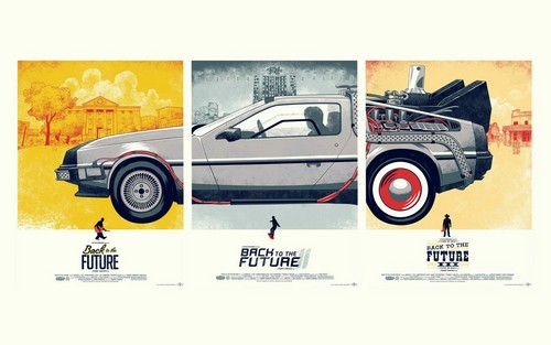 Back to the Future 바탕화면 probably with a sport utility and a 트렁크 문이 위로 열리는 자동차, 해치백 titled Back to the Future Poster