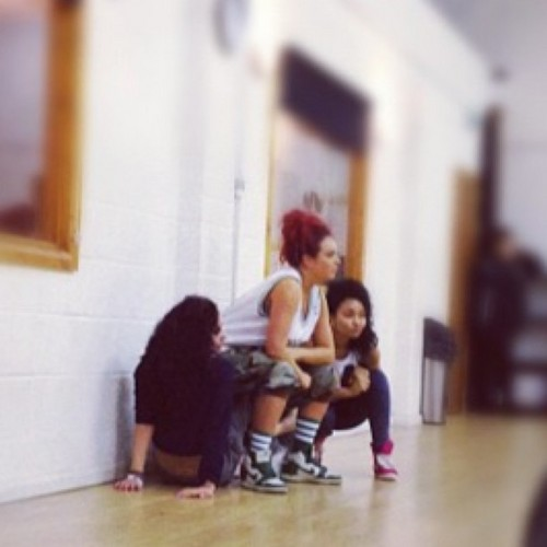 "Behind the scenes of Little Mix's muziki video for new single ""Wings""(?)."
